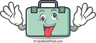 loco, maleta, estilo, caricatura, mascota