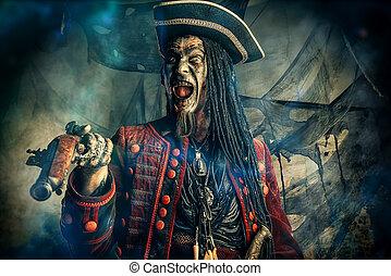 loco, pirata, muerto