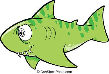loco, vector, tiburón, ilustración