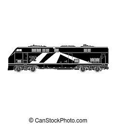 locomotief, silhouette, op wit, achtergrond