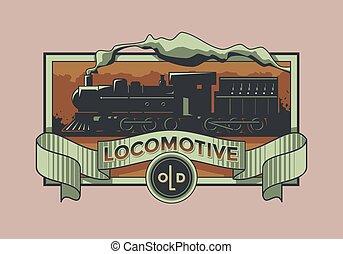 locomotief, vector, oud, etiket, retro