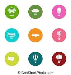 Locomotion icons set, flat style - Locomotion icons set....