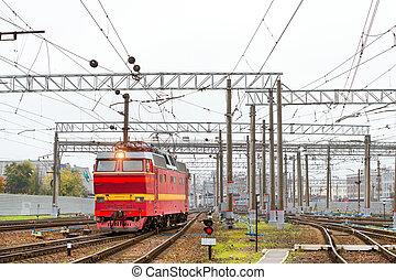 Locomotiv on railroad tracks, Russia - Old electric ...