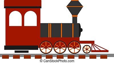 locomotiva, antigas, ilustração, experiência., vetorial, branco vermelho