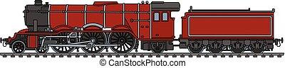 locomotiva clássica, vermelho, vapor