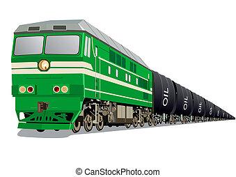 locomotiva, com, óleo