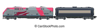 locomotiva, com, carro tanque, isolado