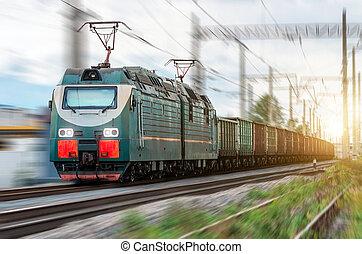 locomotiva, elétrico, com, um, trem carga, em, alta velocidade, passeios, por, rail.