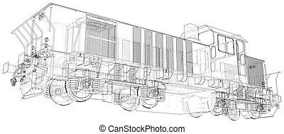 locomotiva, eps10, criado, format., wire-frame, vetorial, train., 3d