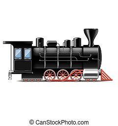 locomotiva, isolato, bianco, vettore