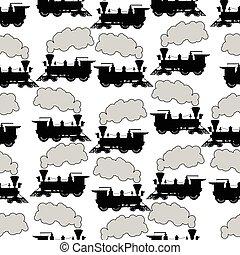 locomotiva, silueta, seamless, fundo, vapor