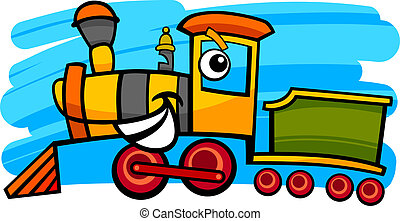 locomotiva, trem, personagem, ou, caricatura