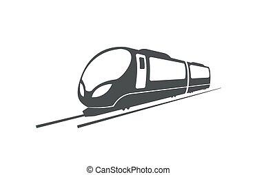 locomotiva, trem, símbolo., rapidamente, vetorial, estrada ferro, transporte