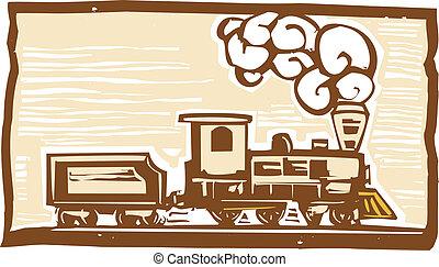locomotiva, woodcut