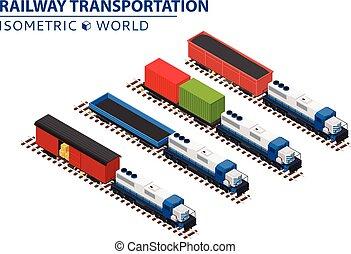 locomotivas, jogo, transporte, carros, trilho, volume, plataformas, vagões, trens, coberto, estrada ferro, recipientes, consistindo, cargoes.