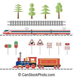 locomotive., alta velocidade, estilo, jogo, illustration., objetos, apartamento, árvores, trilhos, decoração, trem, vetorial, ilustração, sinais, luzes, tráfego, estrada ferro, eps10., estrada