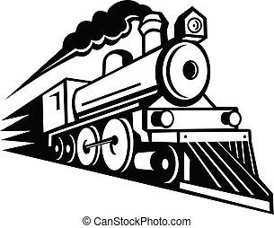 locomotive, blanc, noir, en avant!, vapeur, expédier, retro, mascotte