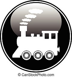 Locomotive button on white background. Vector illustration.