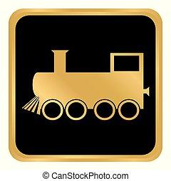 Locomotive button on white.