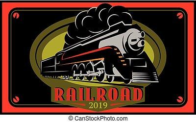 locomotive., coloridos, vindima, ilustração, vetorial, retro, cartazes