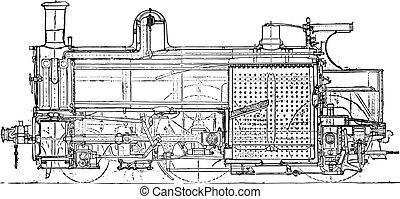 Locomotive compound of Mr. Webb, Longitudinal section, vintage engraving.