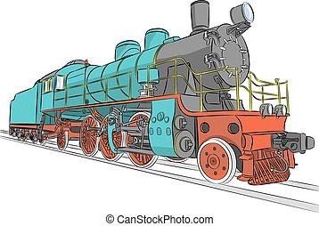 locomotive., dampf