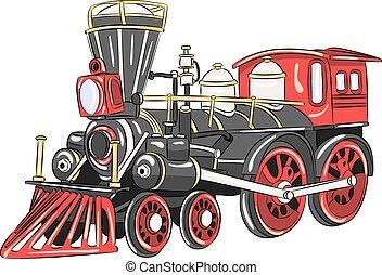 locomotive., dampf, vector.
