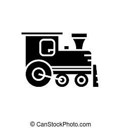 locomotive icon, vector illustration, black sign on isolated background