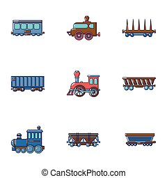 Locomotive icons set, cartoon style