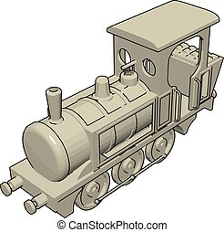 Locomotive, illustration, vector on white background.