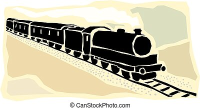 Locomotive - Image of a steam train thundering along a track