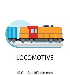 Locomotive in flat style