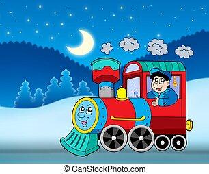 Locomotive in winter landscape
