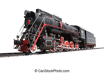 Locomotive isolated - Old locomotive isolated with rails