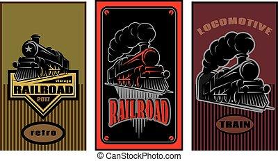 locomotive., jogo, coloridos, vindima, ilustração, vetorial, retro, cartazes