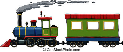 Locomotive on a white background, vector illustration