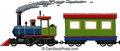 Locomotive on a white background, vector illustration