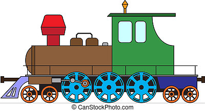 Locomotive on white - color vector