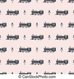 locomotive pattern - Seamless pattern with locomotive and...