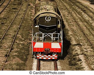 Locomotive. Selective sepia.