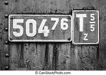 Locomotive sign in black and white