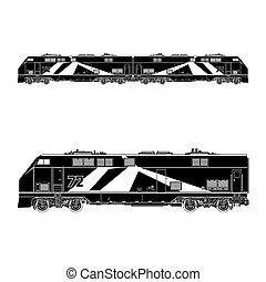 Locomotive Silhouette ,Rail Transportation