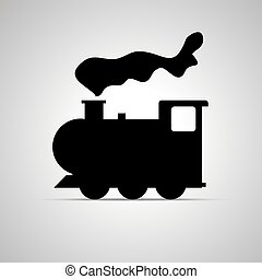 Locomotive silhouette, side view simple black icon