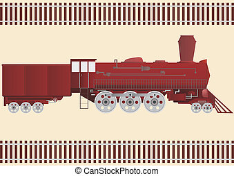 Locomotive - Old Railway transprot against parallel rail...