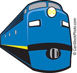 Locomotive - Stylized 1940s-50s era diesel locomotive.