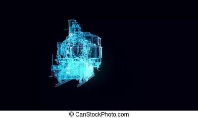 Locomotive Tank Engine hologram Rotating. High quality 4k footage