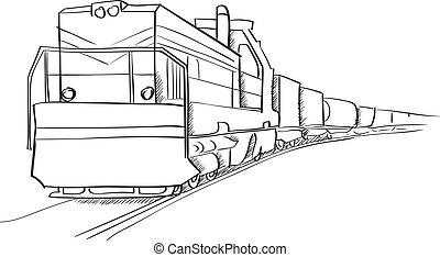 locomotive, train fret