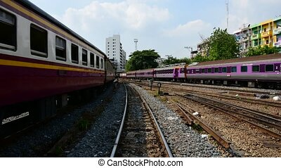 Locomotive train switching the rail - Bangkok, Thailand -...