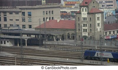 Locomotive traveling through railway station of Tai'an in...