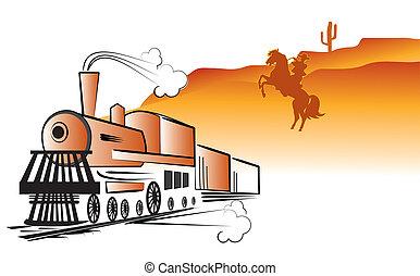 locomotive., vie, cow-boy, bandit, vecteur, occidental